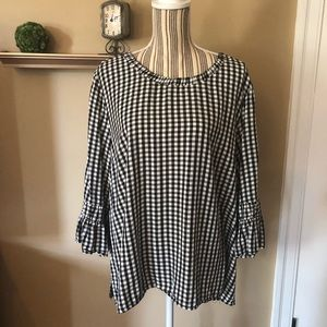 Black/white gingham check blouse